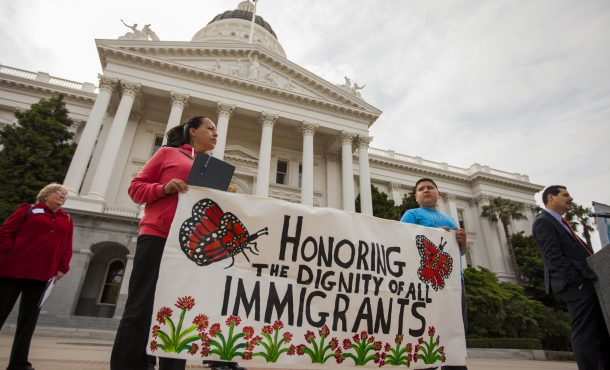 Banner at Immigrant Day in Sacramento