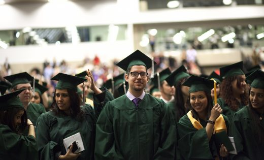 Students graduating in their cap and gown