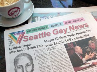Front page of Seattle Gay News