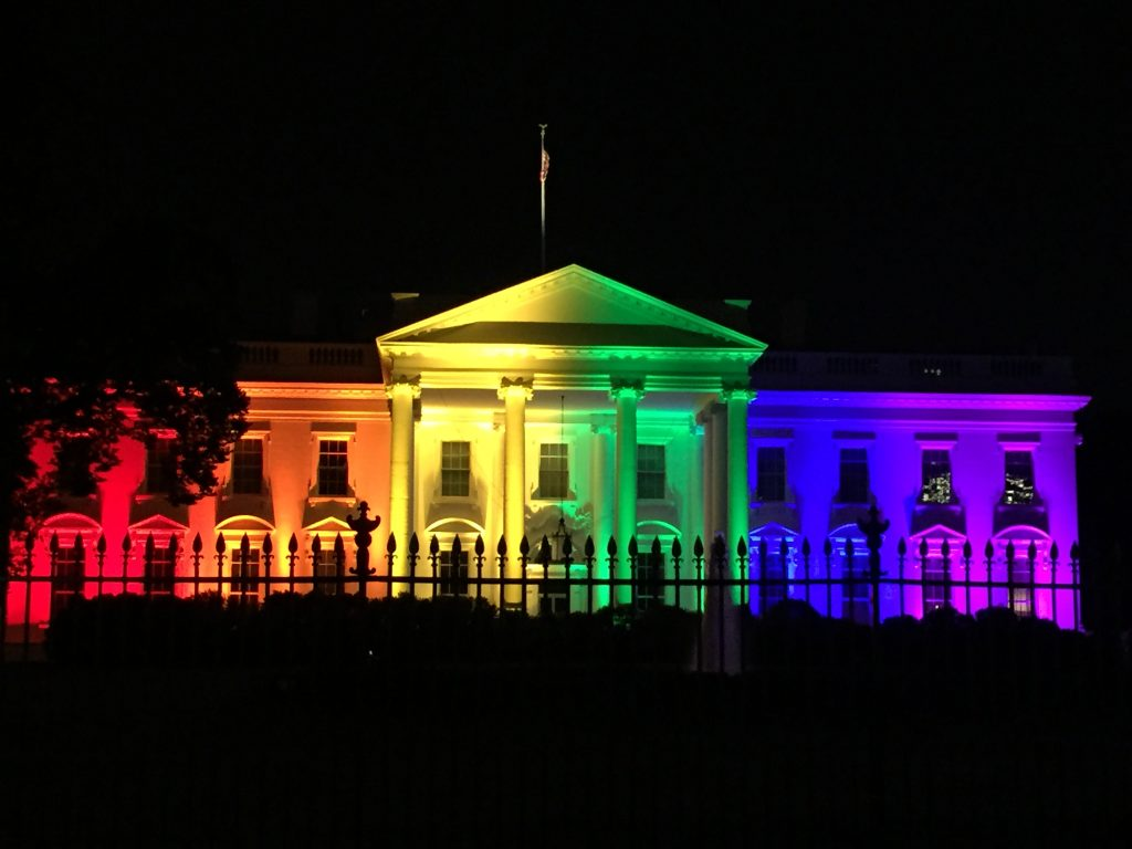 White house lit in rainbow lights
