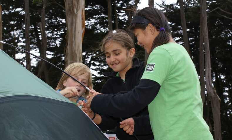 Children camping in the Presidio