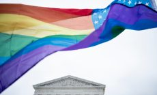 Rainbow Flag in front of SCOTUS