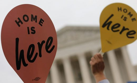 Home is here signs in front of SCOTUS