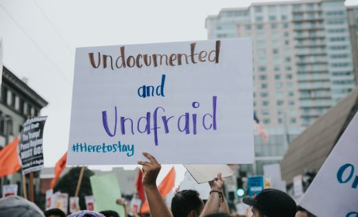 Undocumented and Unafraid sign at rally