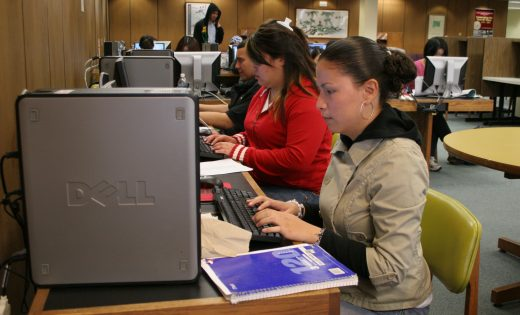 Students at library at Cal State East Bay