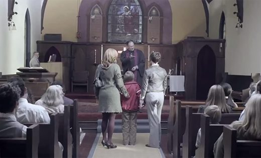 Screencap of family in church from Welcome, Everyone