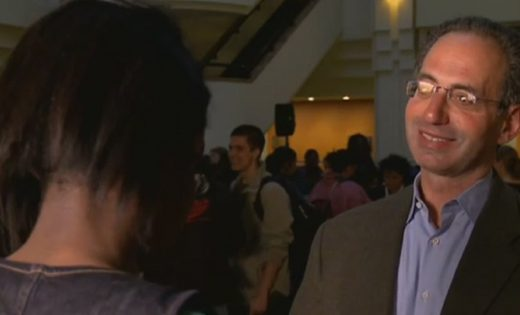 Screencap of Walter J. Haas giving interview