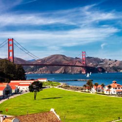Crissy Field lawn with a view of the Golden Gate Bridge