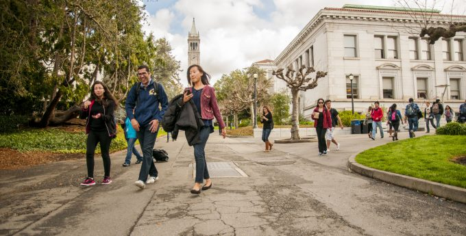 Students on UC Berkeley campus